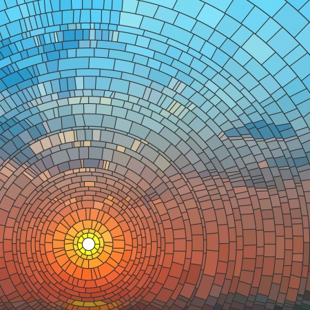 Illustration for illustration of sunset in blue sky in sea, stained glass window. - Royalty Free Image