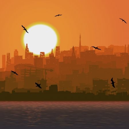 Vector square illustration city by the sea with cost and bird at sunset. mural