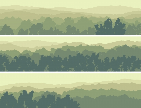 Illustration pour Horizontal abstract banners of hills of deciduous wood in light green tone. - image libre de droit