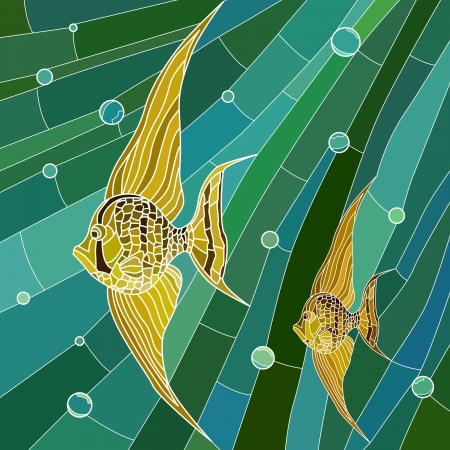 Illustration for Vector mosaic with large cells of yellow fish with long fins in green water with bubbles. - Royalty Free Image