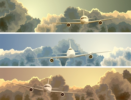 Illustration pour Vector horizontal banner with big plane on background of clouds at sunset. - image libre de droit