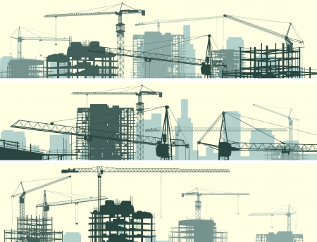 Illustration pour Vector horizontal banner of construction site with cranes and skyscraper under construction. - image libre de droit