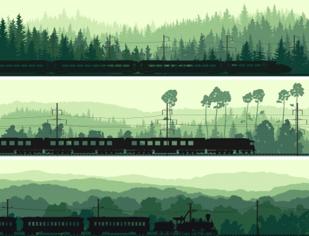 Illustration pour Horizontal abstract banners: locomotive and the high speed train on background hills of coniferous wood in green tone. - image libre de droit