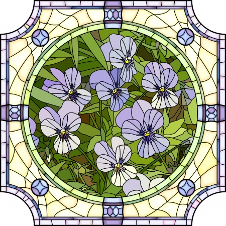Illustration for Vector mosaic with large cells of brightly purple pansies with buds in round stained-glass window frame  - Royalty Free Image