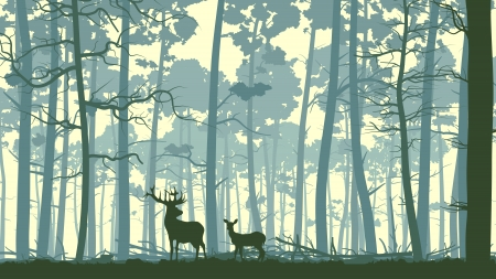 Illustration pour Vector abstract illustration of wild deer in forest with trunks of trees. - image libre de droit