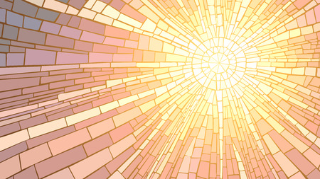 Ilustración de Mosaic vector illustration of sun rays, stained glass window. - Imagen libre de derechos