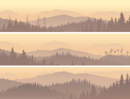 Illustration pour Set horizontal banners of wild coniferous forest in morning fog. - image libre de droit