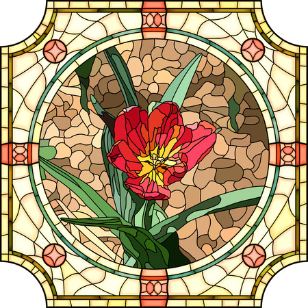 Illustration for Vector mosaic of brightly red tulip in round stained-glass window frame. - Royalty Free Image