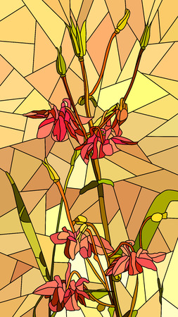 Illustration for Vector vertical mosaic with large cells of columbine flowers on yellow. - Royalty Free Image