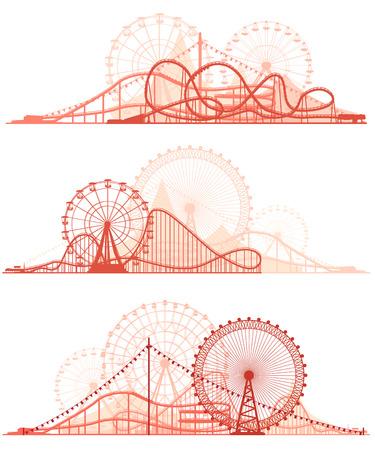 Illustration pour Set vector horizontal lines of red silhouettes roller-coaster and Ferris Wheel from amusement park. - image libre de droit