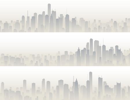 Illustration pour Set horizontal banners of big city with skyscrapers in haze. - image libre de droit