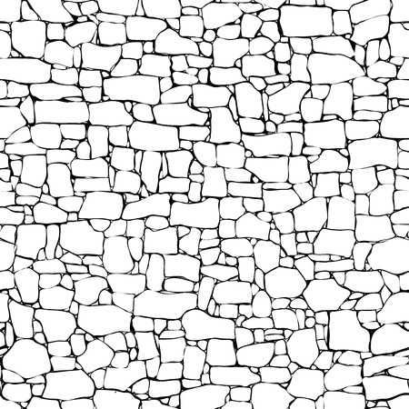 Ilustración de Seamless vector black and white background of stone wall ancient building with different sized bricks (drawn by ink). - Imagen libre de derechos