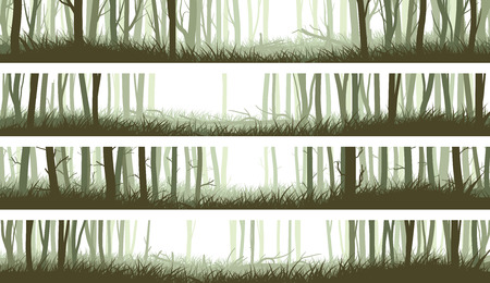 Illustration for Set horizontal banners misty forest with clearing in woods and trunks of trees (green tone). - Royalty Free Image