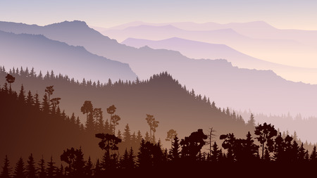 Illustration pour Horizontal illustration morning misty coniferous forest hills in purple tone. - image libre de droit