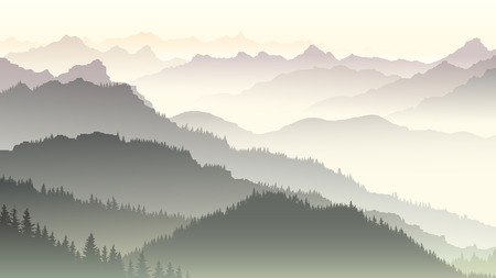 Illustration pour Horizontal illustration morning misty coniferous forest hills in fog. - image libre de droit
