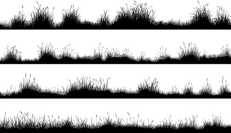 Illustration pour Set of horizontal banners of meadow silhouettes with grass. - image libre de droit
