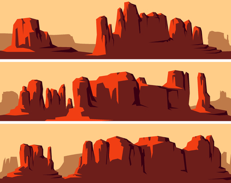 Illustration pour Set of vector stylized banner of wild west desert area with rocks (Monument Valley) at sunset. - image libre de droit