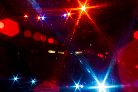 Photo for View from the illuminated empty concert stage to the dark auditorium - Royalty Free Image