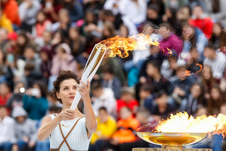 Foto de Athens, Greece - Oct 31,2017: The Olympic flame was handed to organizers of the Pyeongchang (South Korean) Winter Olympics Feb. 9-25, 2018. the ceremony was held in Panathenaic Kallimarmaro Stadium - Imagen libre de derechos