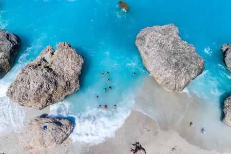 Foto de Aerial flight with drone over famous beach of Kavalikefta on the island of Lefkada in the Ionian Sea in Greece - Imagen libre de derechos