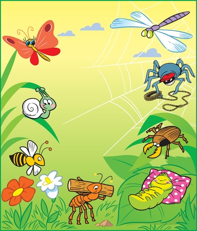 Funny cartoon insects on a background of green grass and flowers