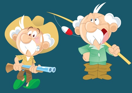 Illustration for The illustration shows an active aged man, who goes hunting and fishing.Illustration done on separate layers with a cartoon style. - Royalty Free Image