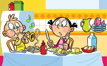 The illustration shows children who eat at the table. The boy indulges, he portrays the taming of snakes and playing musical pipes.