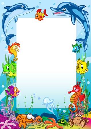 The illustration shows the frame against the background of various sea creatures. Illustration made on separate layers in a cartoon style.