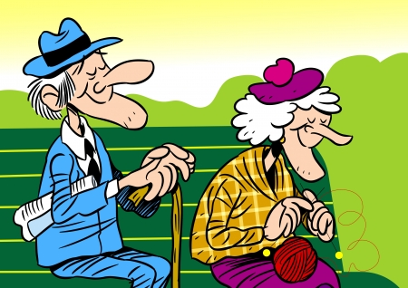 Illustration for  The illustration shows an elderly couple  It is an old man and woman, they sit on the bench  Illustration done in cartoon style, on separate layers  - Royalty Free Image