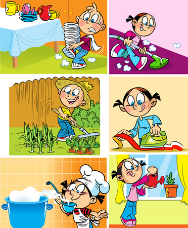 Ilustración de Boy do washing dishes and working in the garden  Little girl perform preparing food, ironed clothes, vacuuming the floor and watering flowers  - Imagen libre de derechos