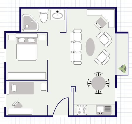 Illustration pour floor plan with furniture - image libre de droit