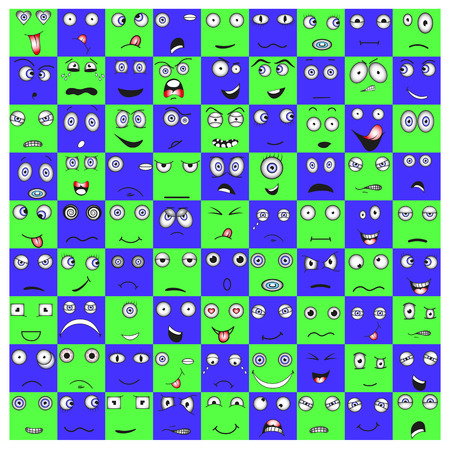 Collection of emoticons in the square and the circle, vector EPS