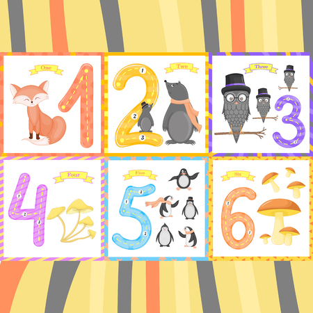 Ilustración de Set children Flashcard number tracing learning to count and to write. learning the numbers 0-10 - Imagen libre de derechos