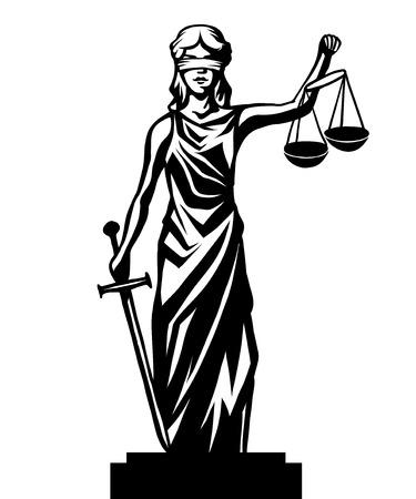 Illustrazione per Femida - lady justice,  graphic vector illustration - Immagini Royalty Free