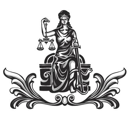 Ilustración de Femida - lady justice,  graphic vector illustration - Imagen libre de derechos