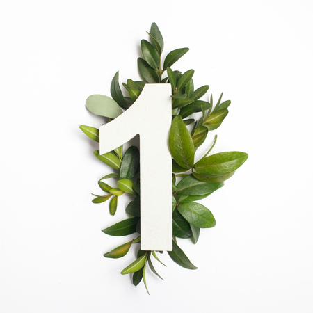 Photo pour Number one shape with green leaves. Nature concept. Flat lay. Top view - image libre de droit