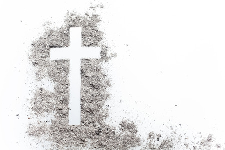 Photo for Ash wednesday cross, crucifix made of ash. Holiday, concept background - Royalty Free Image