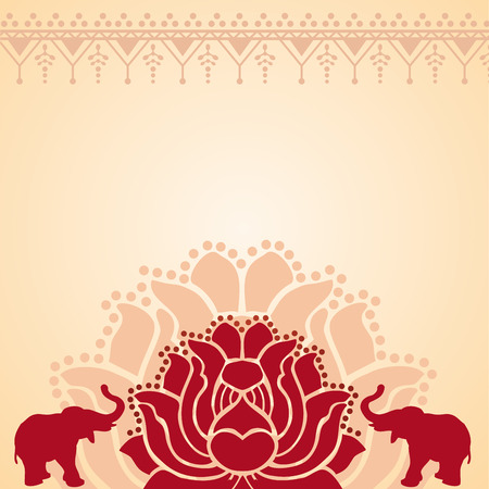 Illustration pour Traditional red and cream Asian lotus and elephant design with space for text - image libre de droit