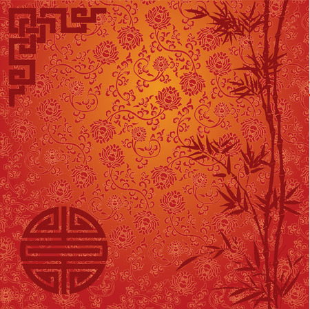 Illustration for Chinese traditional red and gold background with bamboo border - Royalty Free Image