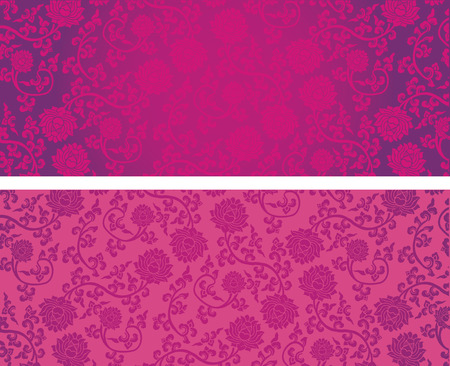 Illustration pour Vintage pink classical oriental lotus pattern horizontal banners with space for text - image libre de droit