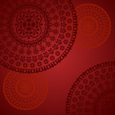 Illustration pour Traditional floral oriental mandala design red background - image libre de droit