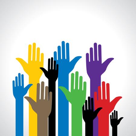 Ilustración de colorful standing hand vector illustration - Imagen libre de derechos