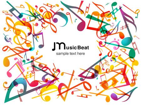 Ilustración de Colorful Music notes. Vector Illustration Abstract white background. - Imagen libre de derechos