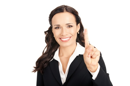 Happy smiling young business woman showing one finger, isolated on white background