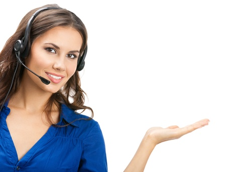 Photo pour Portrait of happy smiling cheerful beautiful young support phone operator showing; isolated over white background - image libre de droit