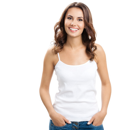 Portrait of happy smiling young beautiful woman, isolated over white background