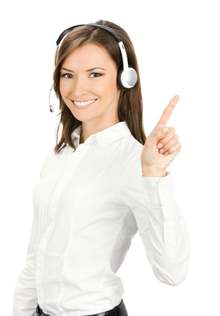 Photo for Portrait of happy smiling cheerful customer support phone operator in headset showing something, isolated over white background - Royalty Free Image