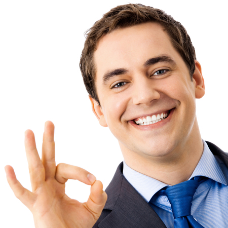 Photo for Happy smiling cheerful business man with okay gesture, isolated over white background - Royalty Free Image