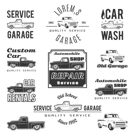 Ilustración de Set of car service labels, emblems and design elements - Imagen libre de derechos