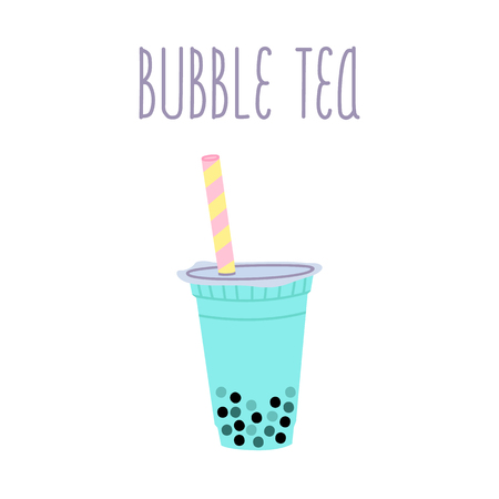 Illustration pour Bubble tea or milkshake with tapioca pearls and text on a white background.  It can be used for card, menu, poster, phone case etc. - image libre de droit